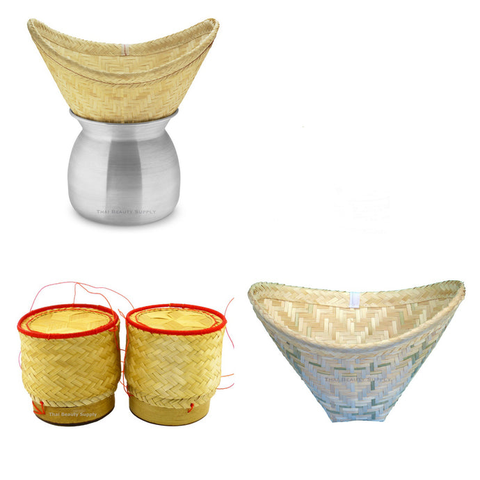 Aluminum Sticky Rice Steamer Set with 2 Bamboo Serving Baskets