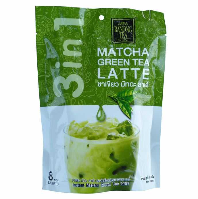 Ranong Tea Matcha Green Tea Latte Instant Drink Mix 8 Sachets