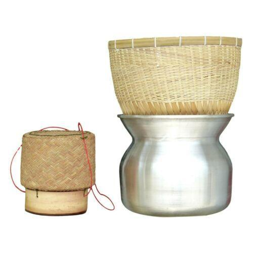 Bamboo Sticky Rice Steamer Set with Reed Serving Basket and Aluminum Pot