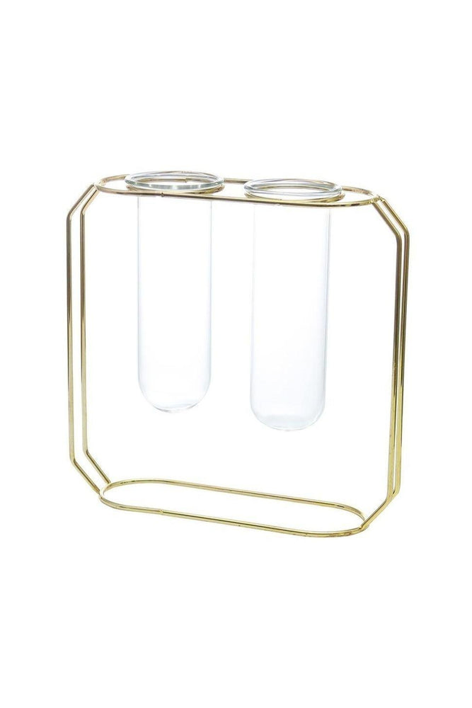 Simple Elegant Gold Glass Double Vase