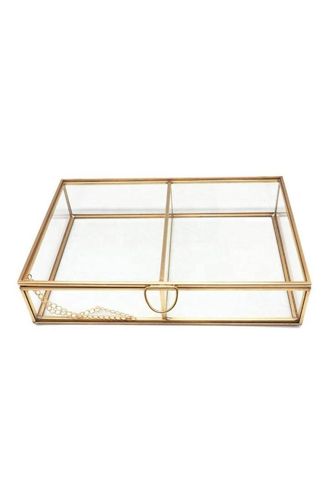 Functional and Simple Gold Make-up Organiser | Glass Jewellery Organizer with lid