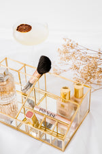 Gold Glass Makeup Organiser | Organised Style Living | Organize and style your everyday accessories, beauty & skincare products with our elegant organiser.