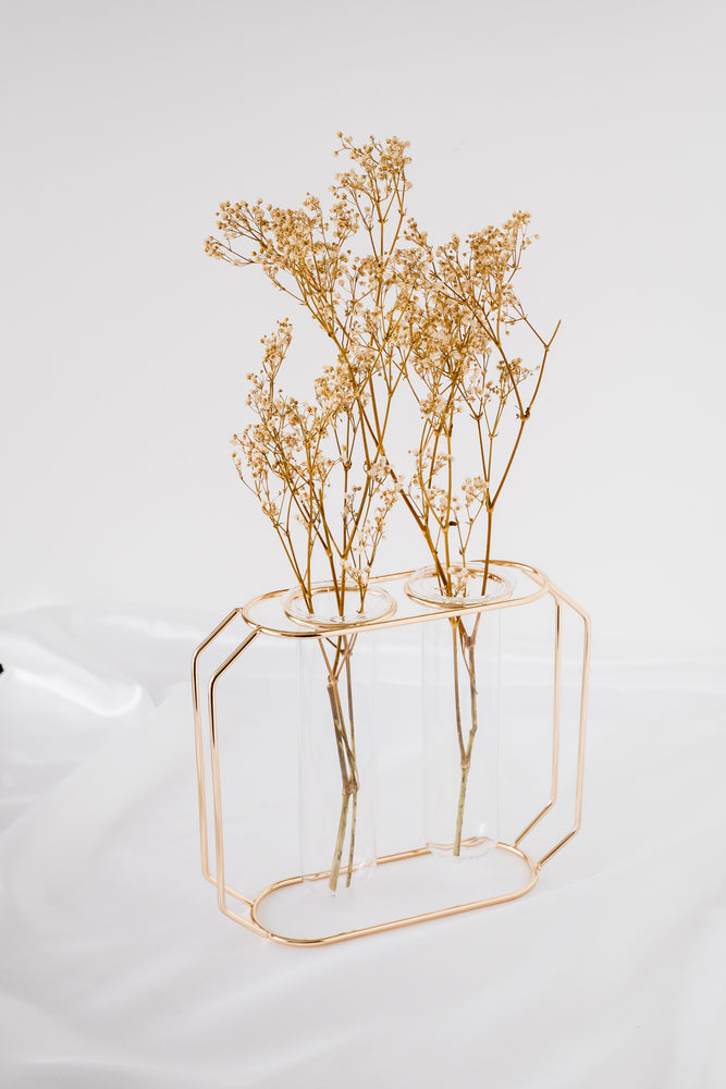 Rose Gold Glass Double Vase