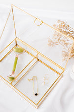 Gold Glass Organiser with Lid