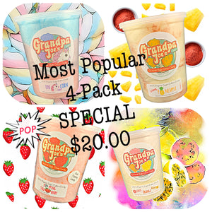 Our Most Popular 100% Organic Sugar Cotton Candy - 4-PACK SPECIAL!!  Unicorn Candy, Li Hing Pineapple, Popping Strawberry and Guava-Orange-Liliko'i