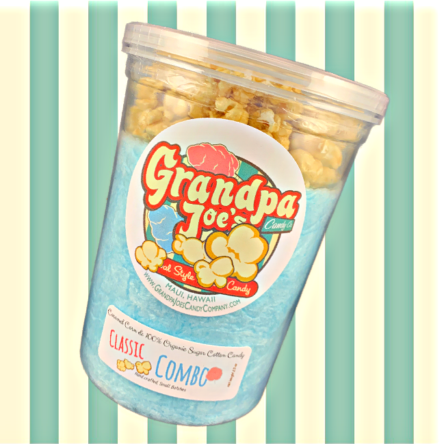 Blue Raspberry and Pink Vanilla Classic Combos - 100% Organic Sugar Cotton Candy and Caramel Corn