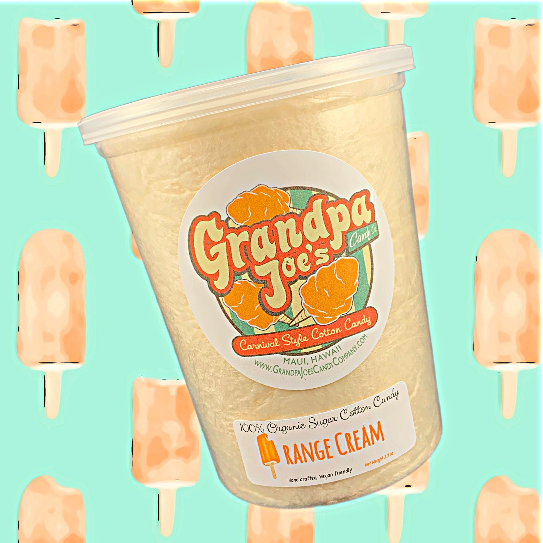 Orange Cream Cotton Candy - 100% Organic Sugar