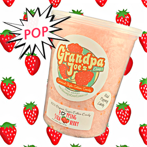 Popping Strawberry (made w/popping candy) Cotton Candy - 100% Organic Sugar
