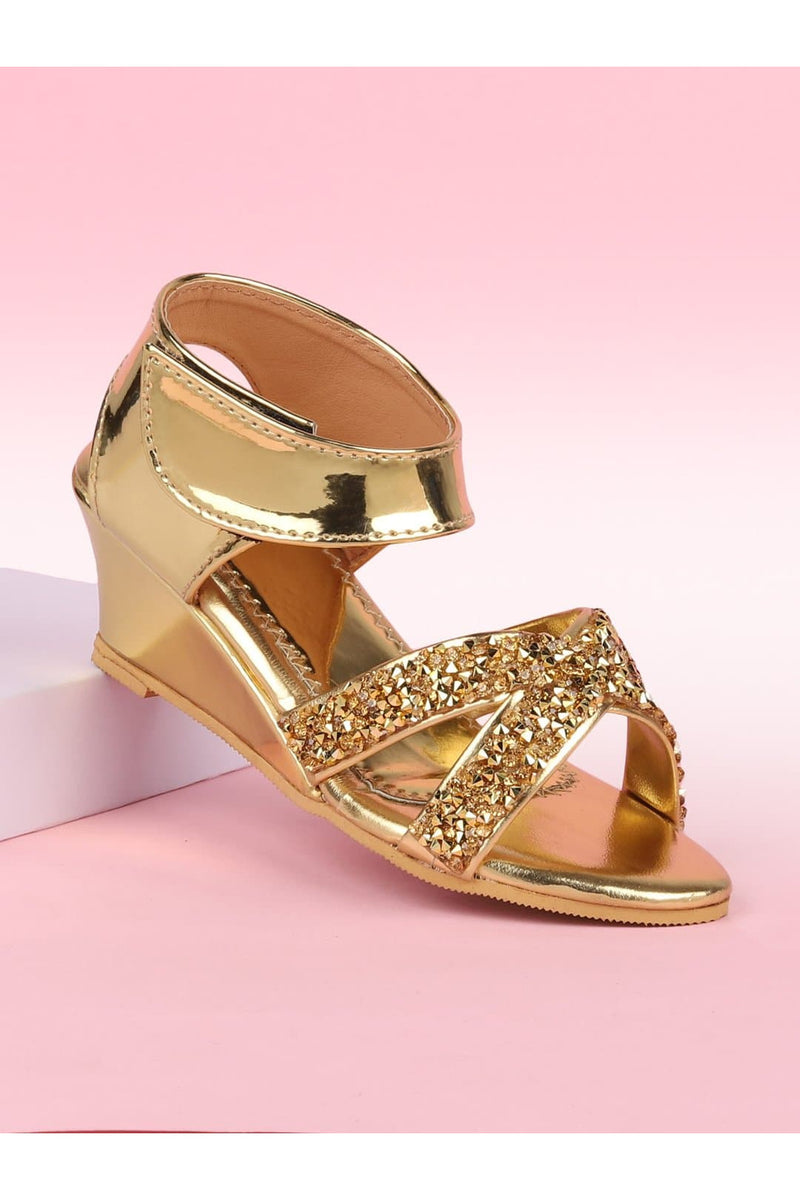 Gold Girls Sandals With Heels