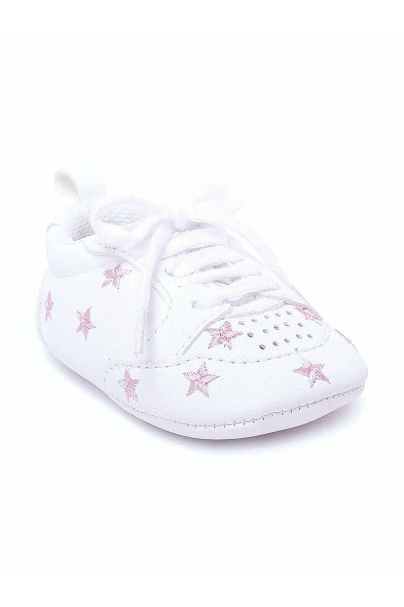 White and Pink Infant Booties