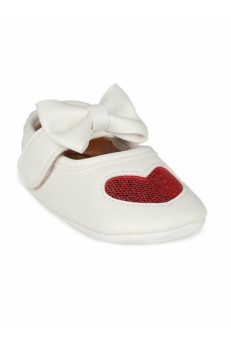 White and Red Girls Mary Jane Booties