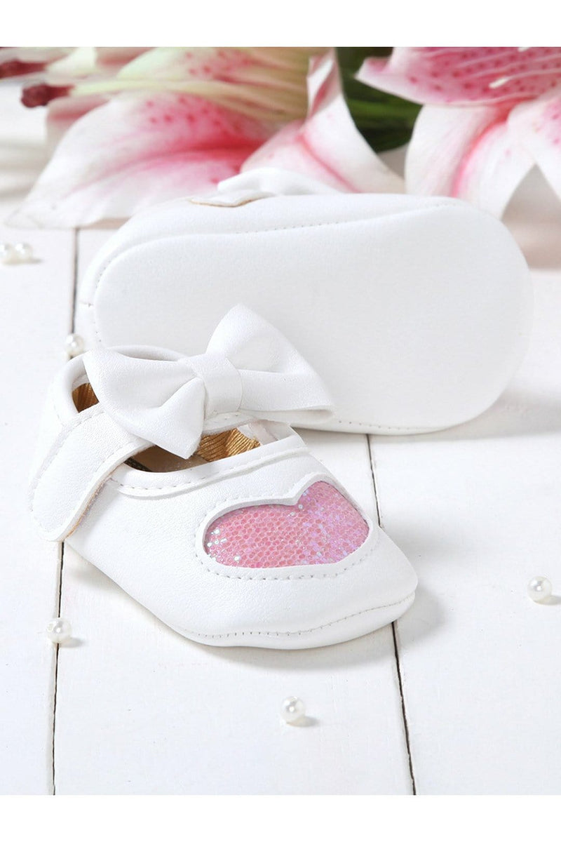 White-Pink Girls Mary Jane Booties