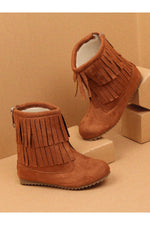 Tan Girls Boots with Frills