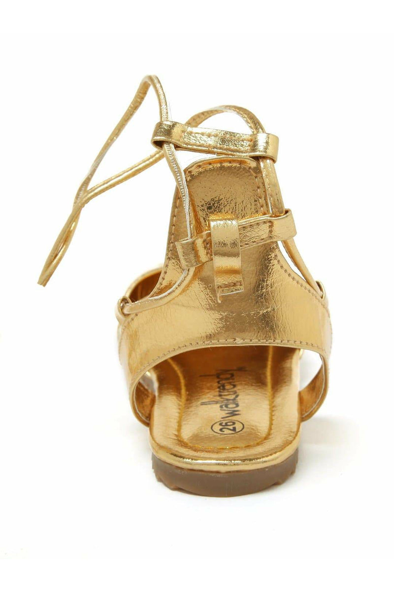 Gold Girls Ballerinas with Lace Up