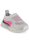 Grey and Pink Girls LED Sneakers