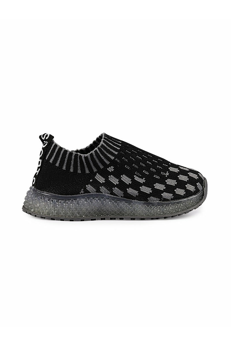 Black and Grey  Kids LED Sneakers