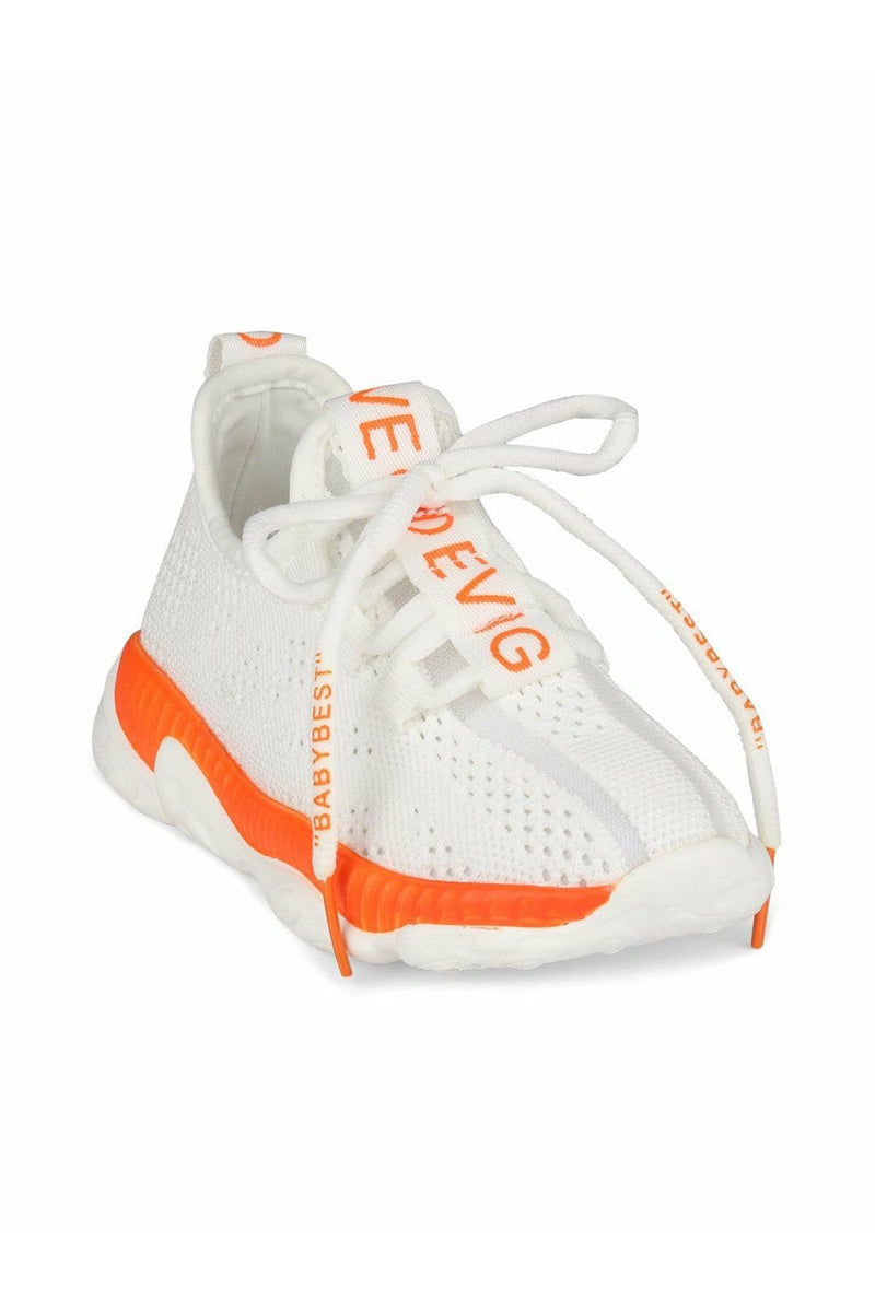 White and Orange Kids Sneakers