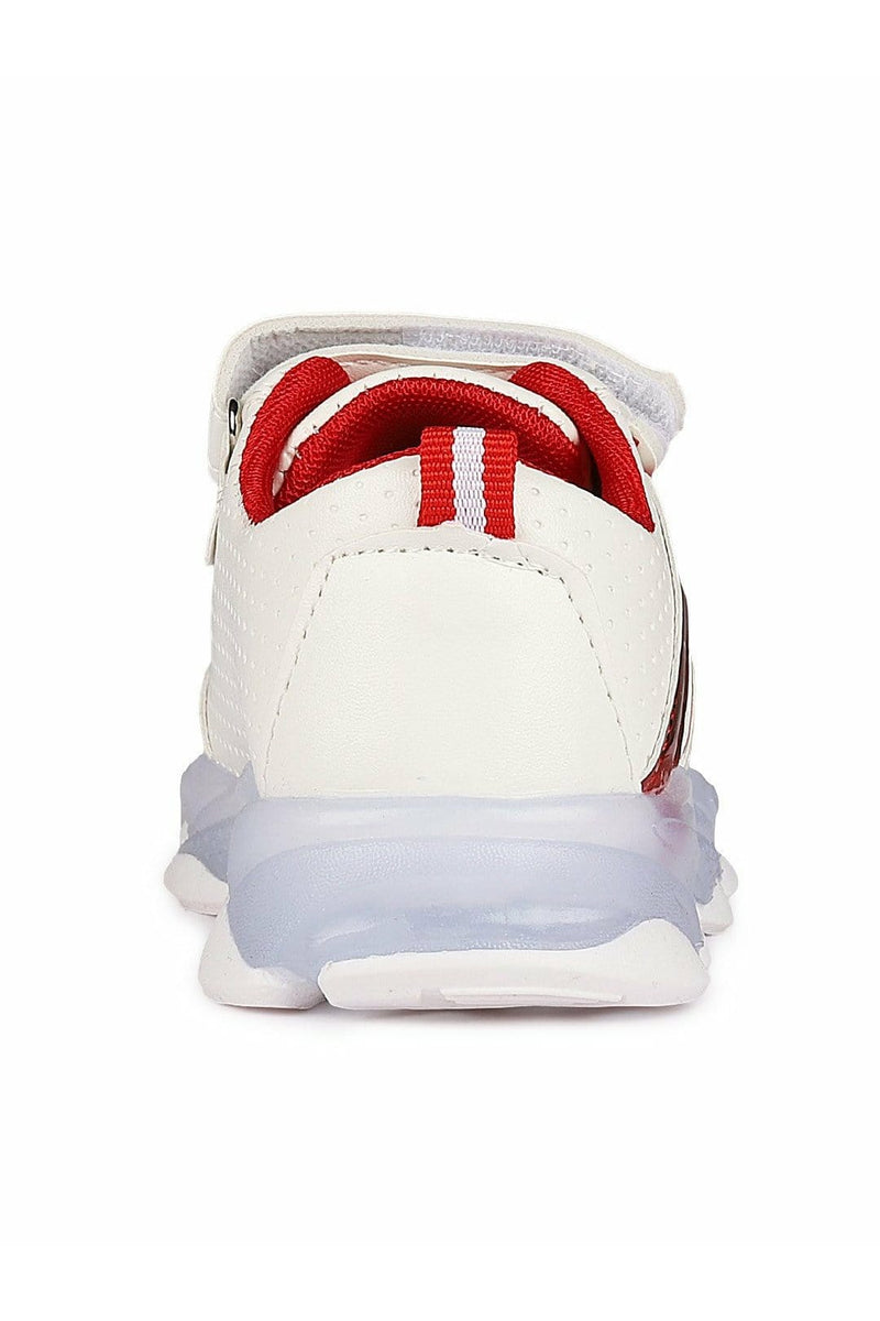White and Red Kids LED Sneakers