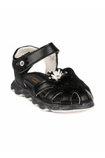 Black Girls Solid Open Toe Flats