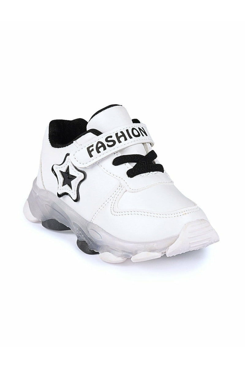 White and Black Kids LED Sneakers