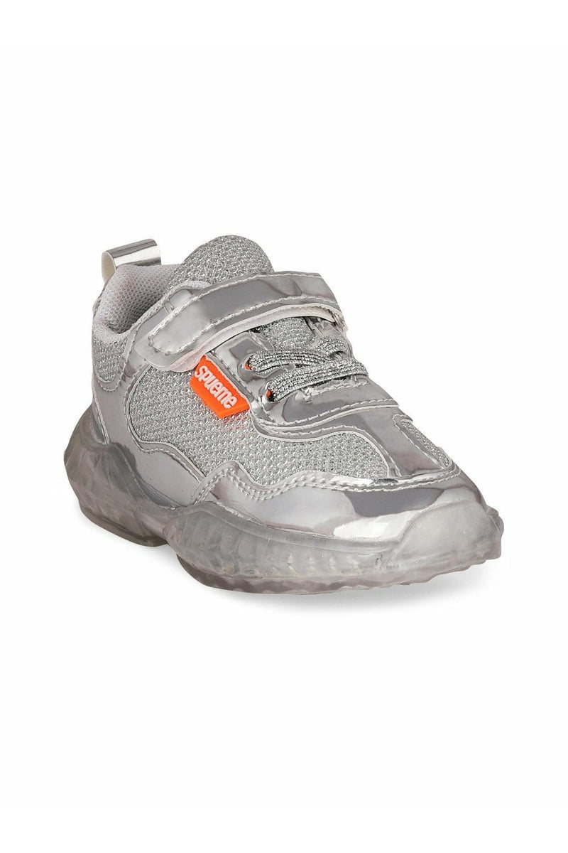 Silver Kids LED Sneakers