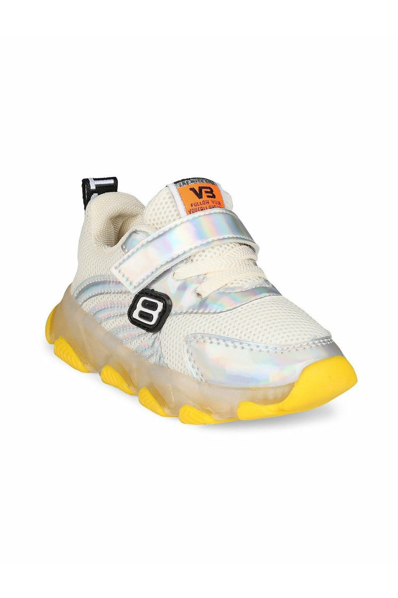 White and Silver Kids LED Sneakers