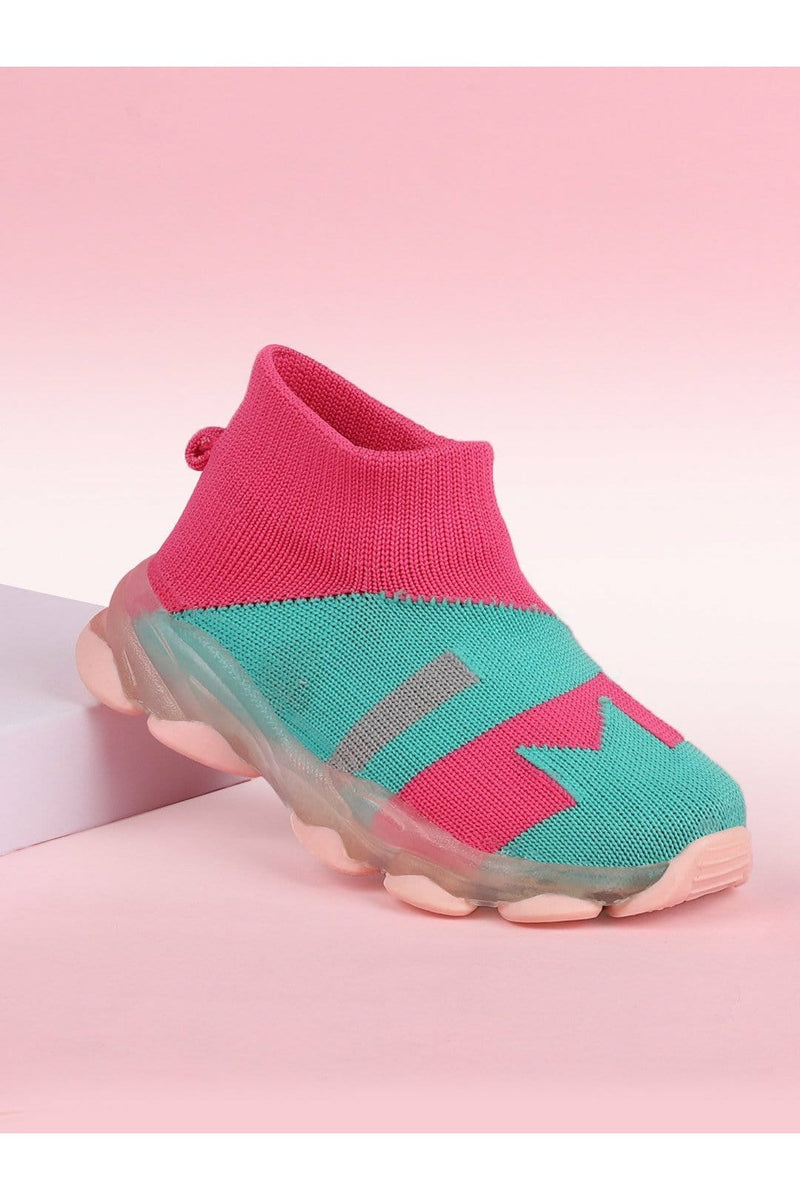 Pink and Green Kids LED Sneakers