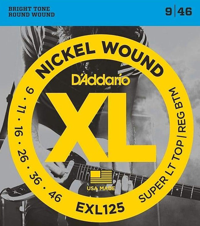 D'Addario EXL125 Nickel Wound Electric Guitar Strings, Super Light Top / Regular Bottom Gauge