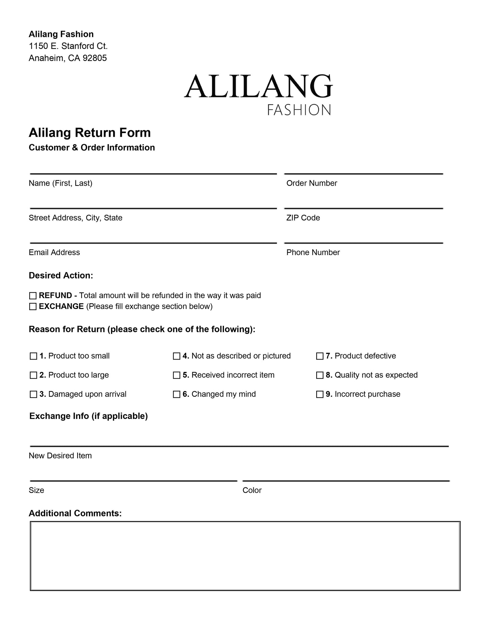 Alilang Return Form