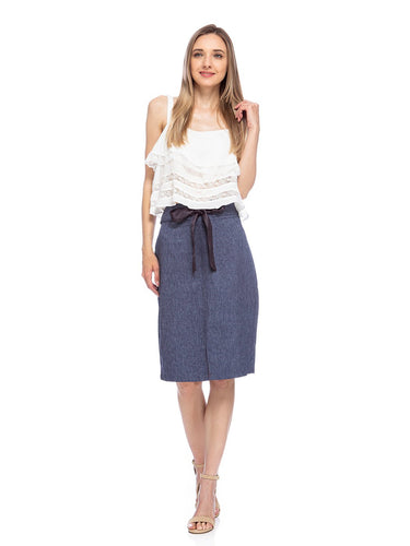 Anna-Kaci Womens Knee Length Tailored Denim Chambray High Waist Pencil Skirt