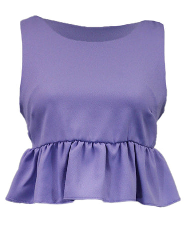 Audrey 3+1 Sleeveless Ruffled Peplum Crop Top With Round Wide Shoulder Neckline