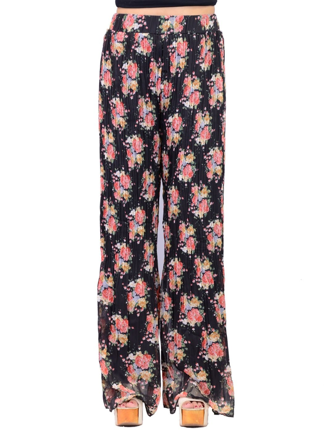 Honey Punch Floral Print All Over Pleated Palazzo Pants With Flared Cut