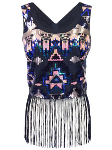 Marine Blu All Over Sequin Sleeveless Cropped Top With Bottom Fringe Detail