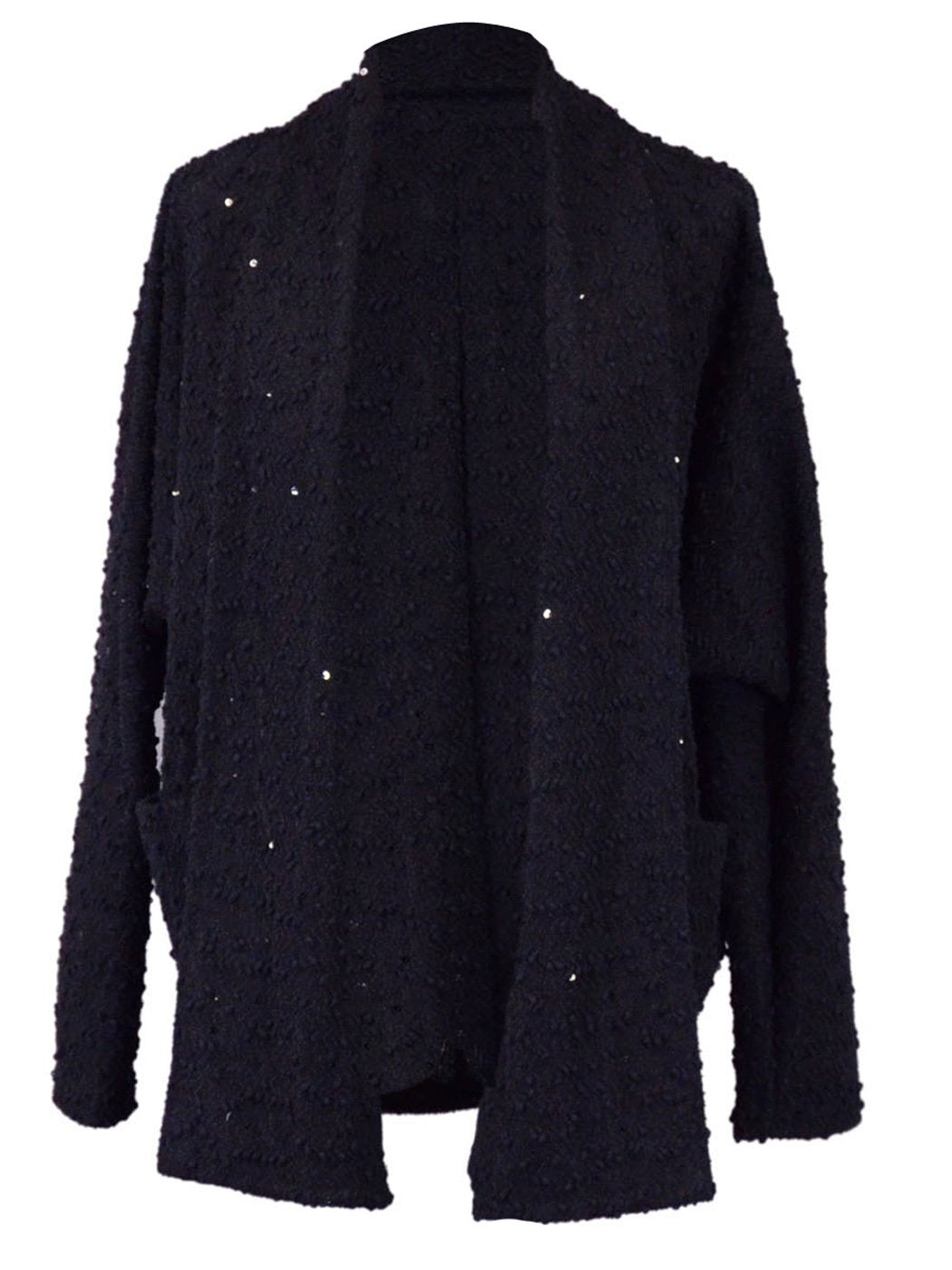 Paper Crane Black Long Sleeved Open Knitted Cardigan With Sequin Detailing - Anna-Kaci | ALILANG.COM