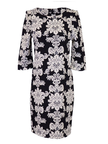 Everly Classic Black And White Damask Printed Three Quarter Sleeved Dress