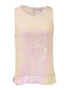 Ligali Dressy Sleeveless Loose Fitted Top With Mesh Neckline And Sequin Design