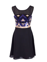 Load image into Gallery viewer, Anna-Kaci Sleeveless Fit And Flare Aztec Sequined Dress With V Back Neckline - Anna-Kaci | ALILANG.COM
