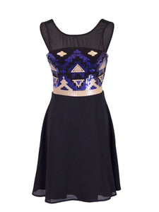 Anna-Kaci Sleeveless Fit And Flare Aztec Sequined Dress With V Back Neckline - Anna-Kaci | ALILANG.COM