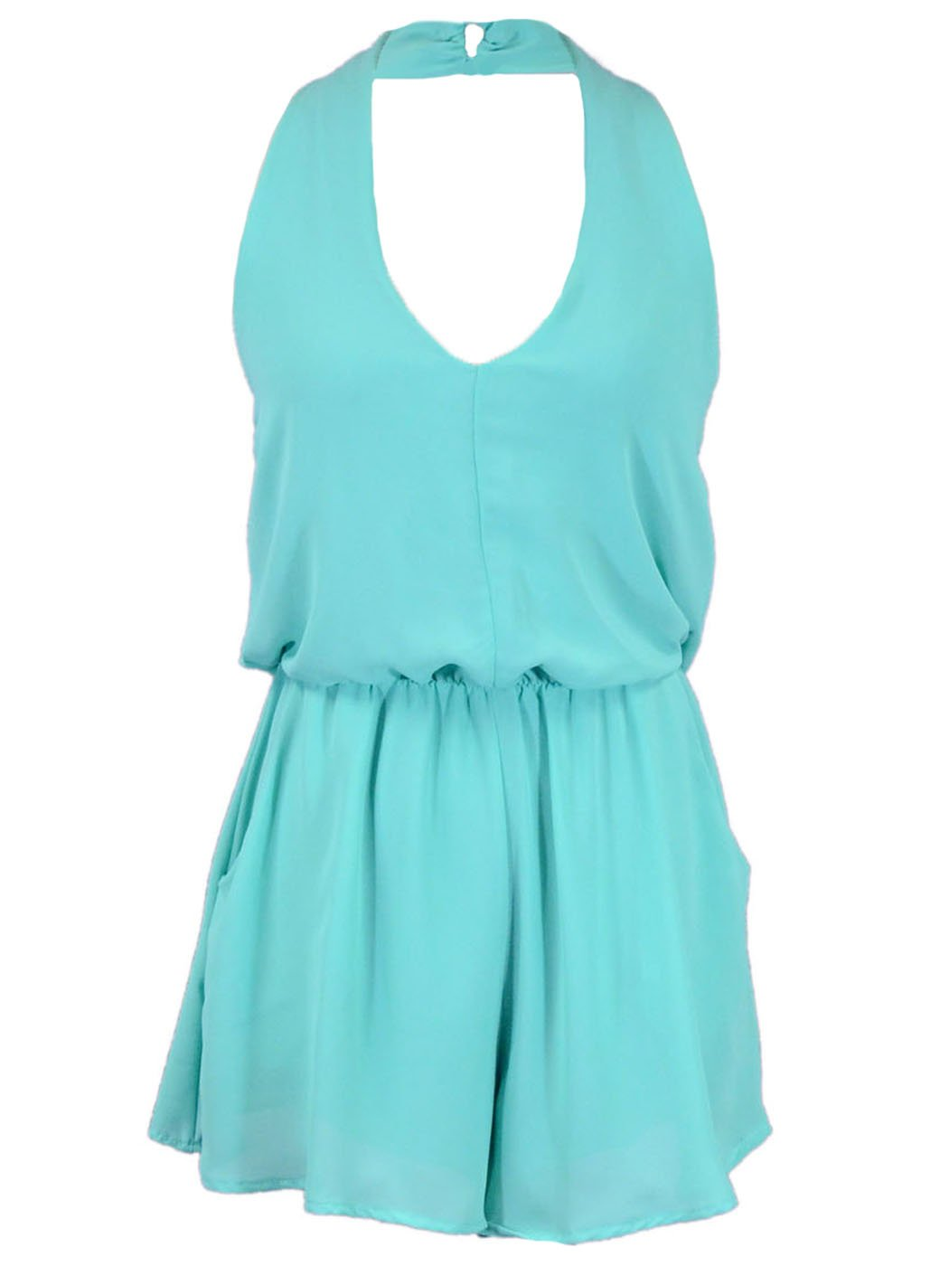 Lush Lightweight Simple Halter Chiffon Romper With Cinched Elastic Waistband