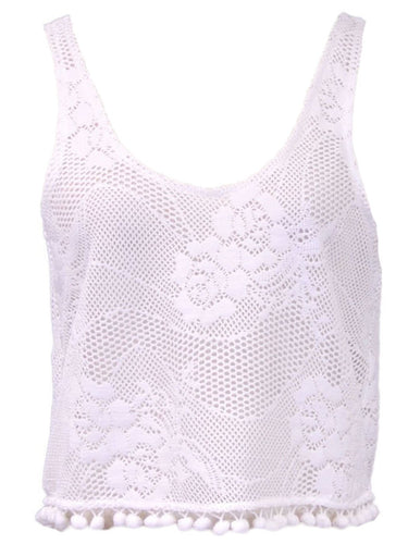 En Creme Girly Sweet Open Back Ribbon Tie Pom Pom Hem Lace Crop Tank Top