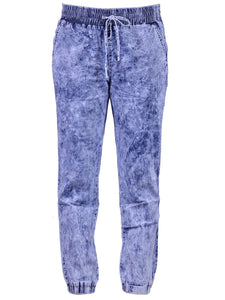 Uniq Urban Glam Bleached Splattered Elastic Waist Drawstrings Jogger Denim Pants