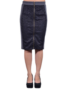 Tresics Brand Black and Grey Leopard Print Panels Exposed Zip Skirt