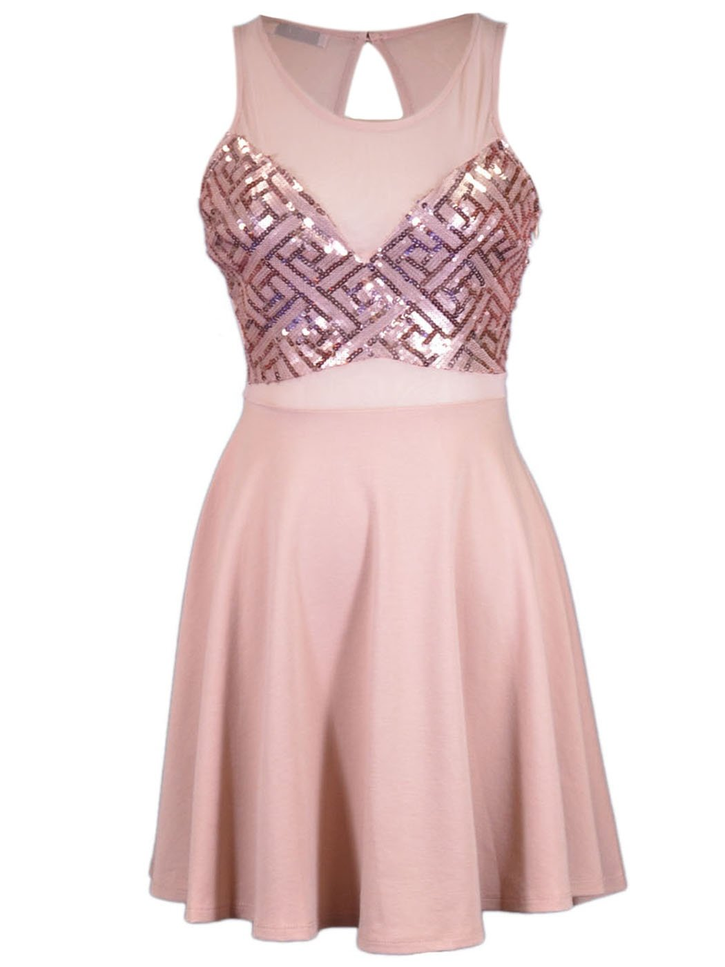 Lush Brand Pink Geometric Sequin Pattern Sheer Yoke Key Hole Detail Dress