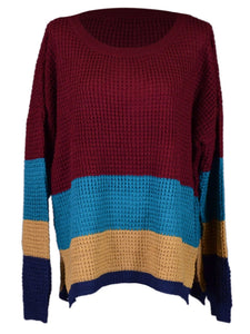 Everly Brand Red, Blue & Tan Color Block Look Thick Cable Knit Sweater