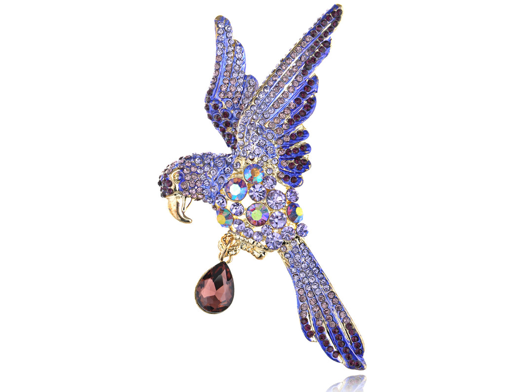 Lavender Purple Tropical Parrot Bird Ab Pin Brooch
