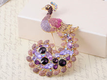 Load image into Gallery viewer, Exotic Purple Lavender Peacock Pea Train Pin Brooch