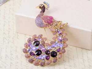 Exotic Purple Lavender Peacock Pea Train Pin Brooch