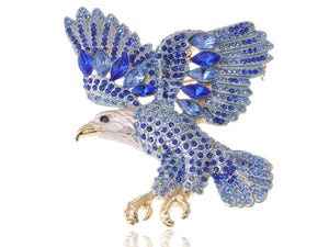 Sapphire Blue Colored Bald Eagle Bird Brooch Pin