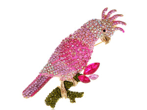 Pink Tropical Parrot Cockatoo Bird Brooch Pin