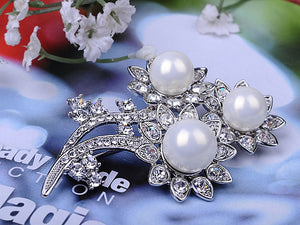 Pearl Sunflower Silver Pin Brooch